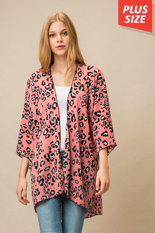 PLUS SPOTTED IN THE SUNSHINE LEOPARD KIMONO