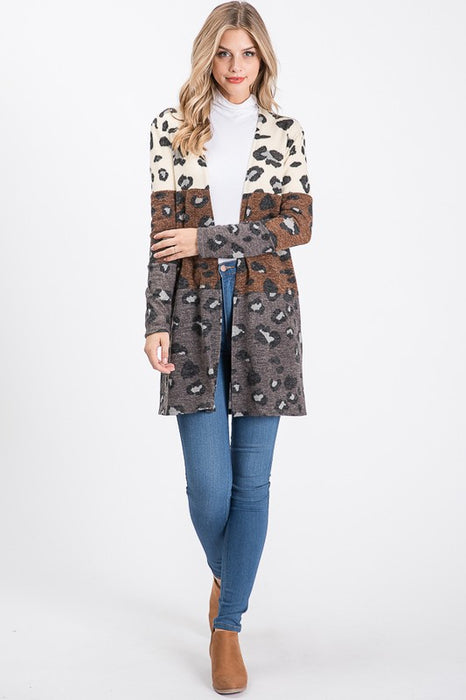 BRING FALL ON LEOPARD CARDIGAN