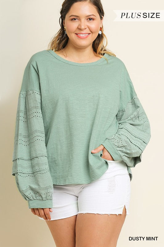 PLUS PINTUCK EYELET LACE BUBBLE SLEEVE TOP