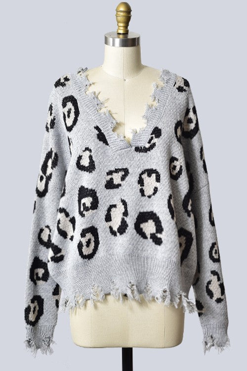 NEVER TO MUCH LEOPARD SHARBITE SWEATER