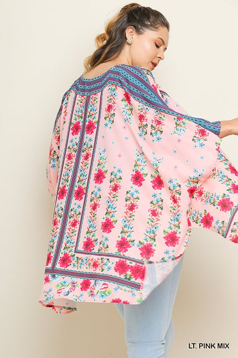 PLUS SCARF IN THE FLORAL PINK KIMONO