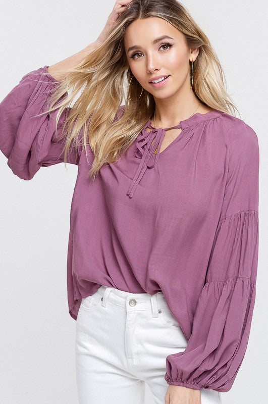 TAKE A BITE KEYHOLE PUFF SLEEVE TOP