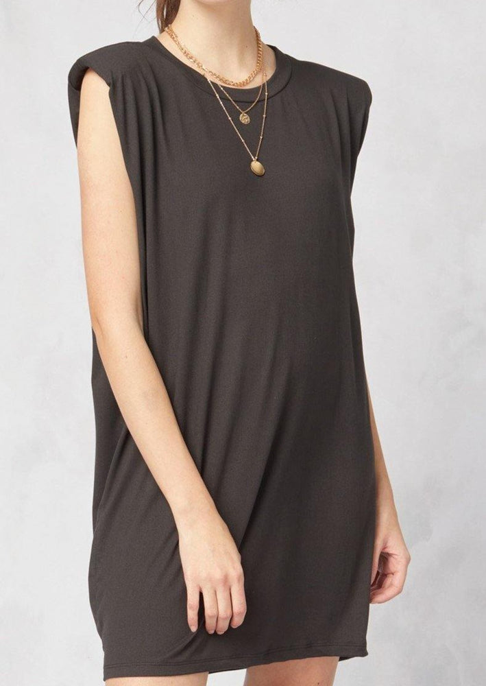 Lean On Me Shoulder Pad Dress | Black - shopbellabird