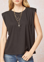 Lean On Me Shoulder Pad Top | Black - shopbellabird