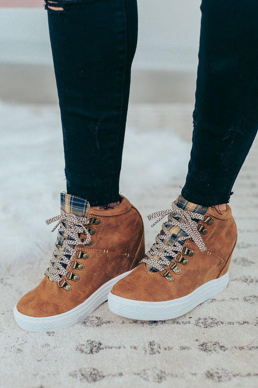 NOT RATED FALL FLANNEL SNEAKER WEDGE TIBI
