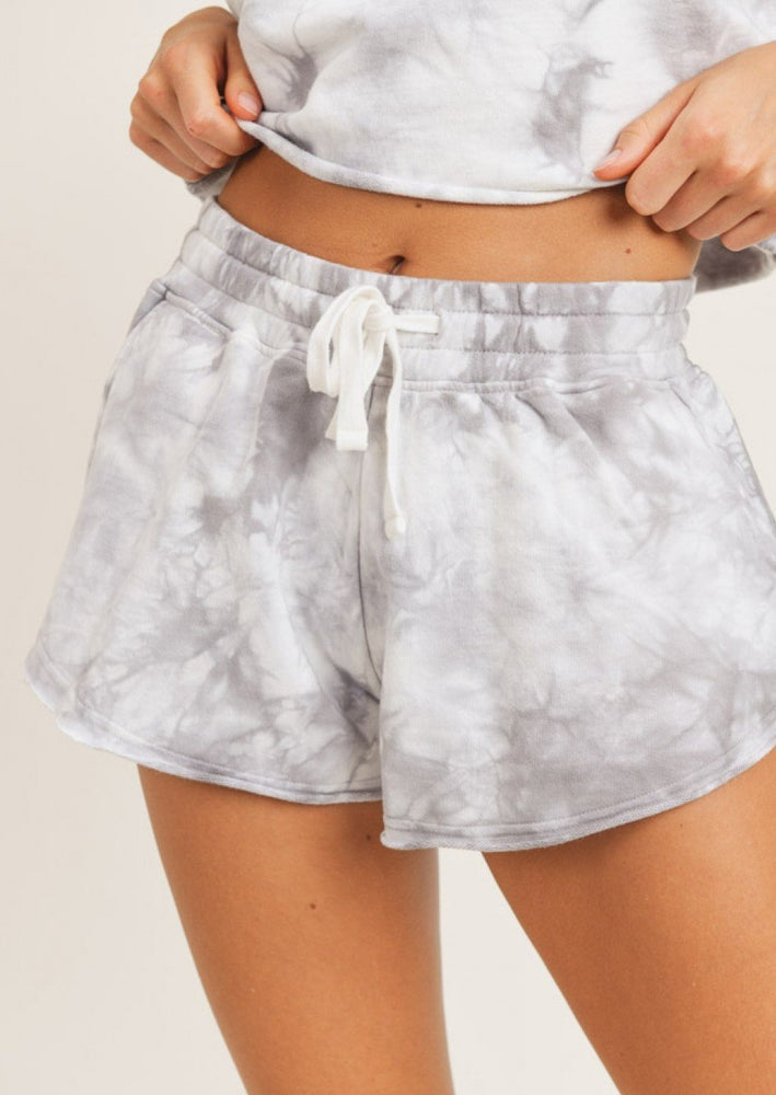 Lounge With Me Tie Dye Terry Shorts | Grey