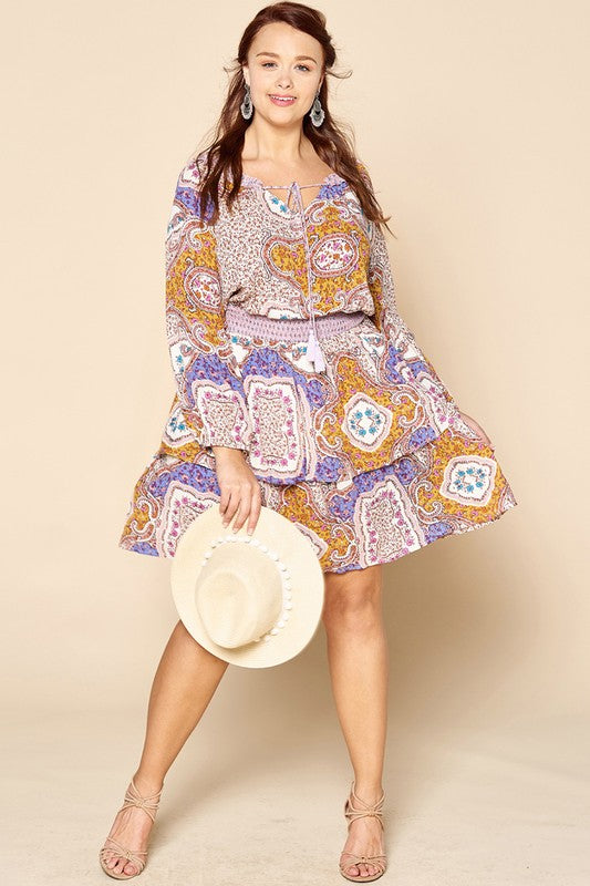 PLUS-KEEPING SECRETS PAISLEY DRESS