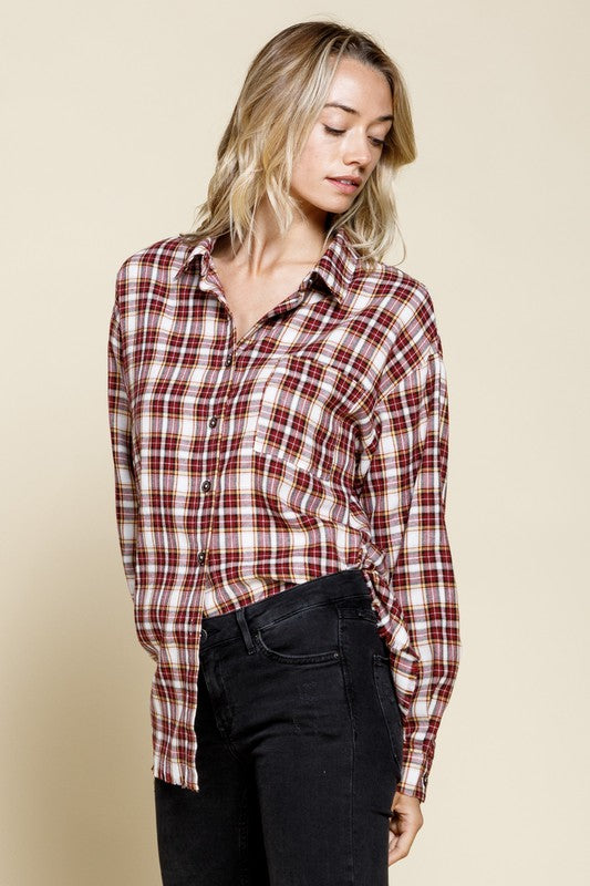 FALLING INTO FLANNEL TOP