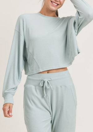 Surf Spray Ribbed Cropped Top | Mint