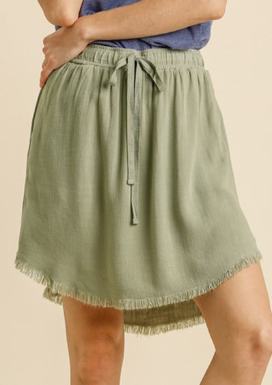 Give A Twirl Linen Skirt | Sage