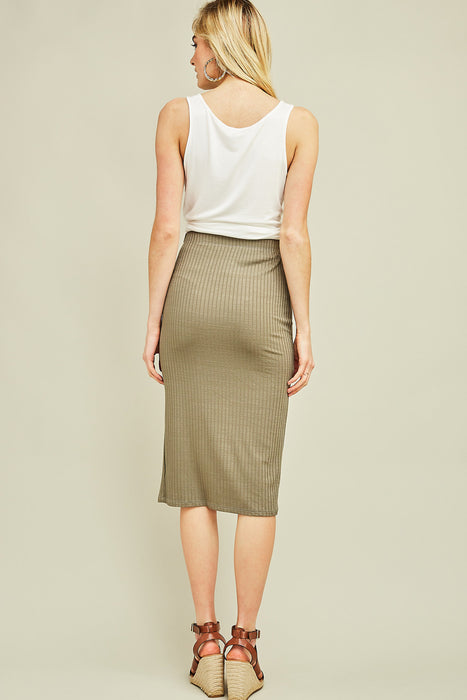 CAN'T WAIT TO DATE RIBBED OLIVE SKIRT