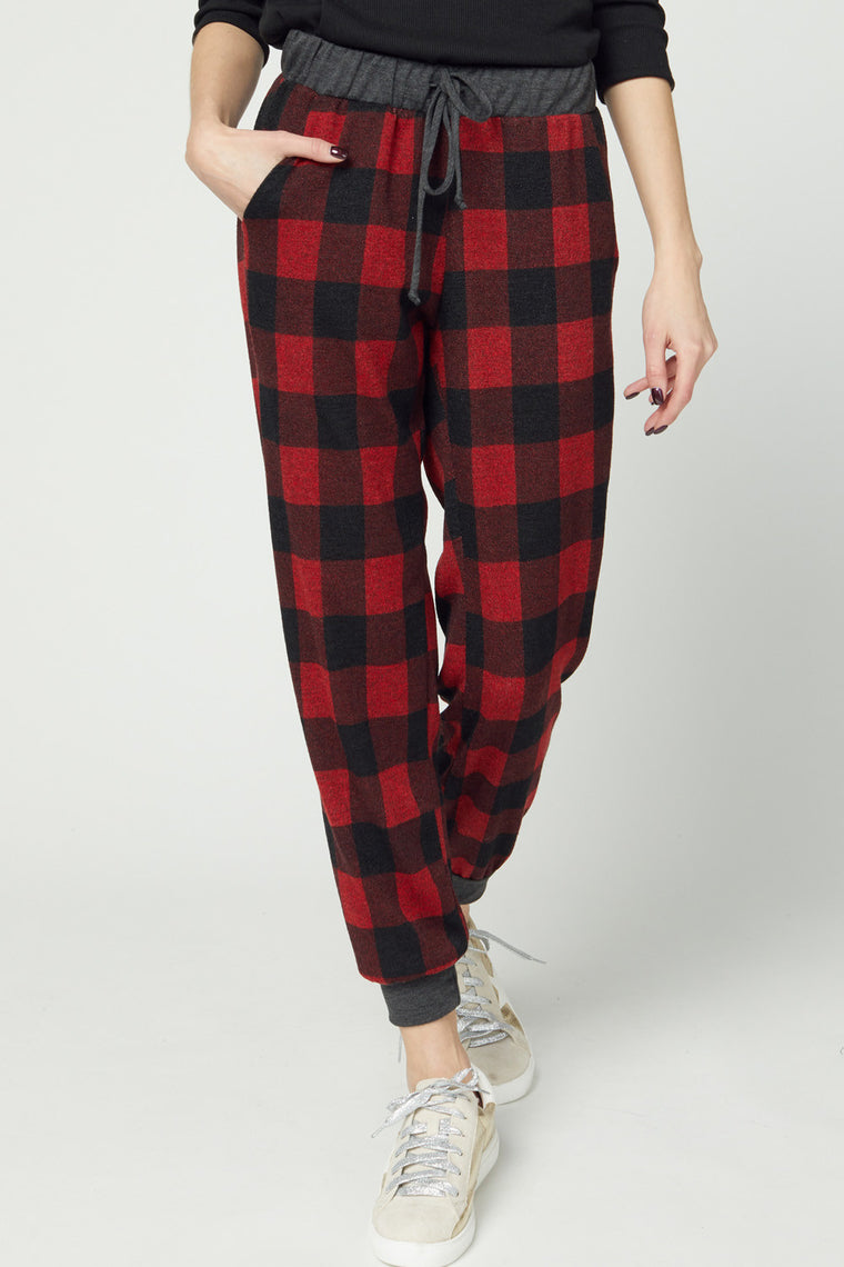 TRUE COLORS OF FALL BUFFALO PLAID JOGGERS