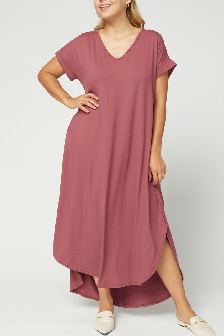 CURVY AUTUMN BREEZE MARSALA MAXI DRESS