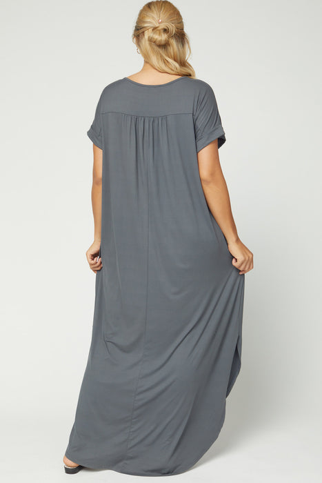 CURVY AUTUMN BREEZE CHARCOAL MAXI DRESS