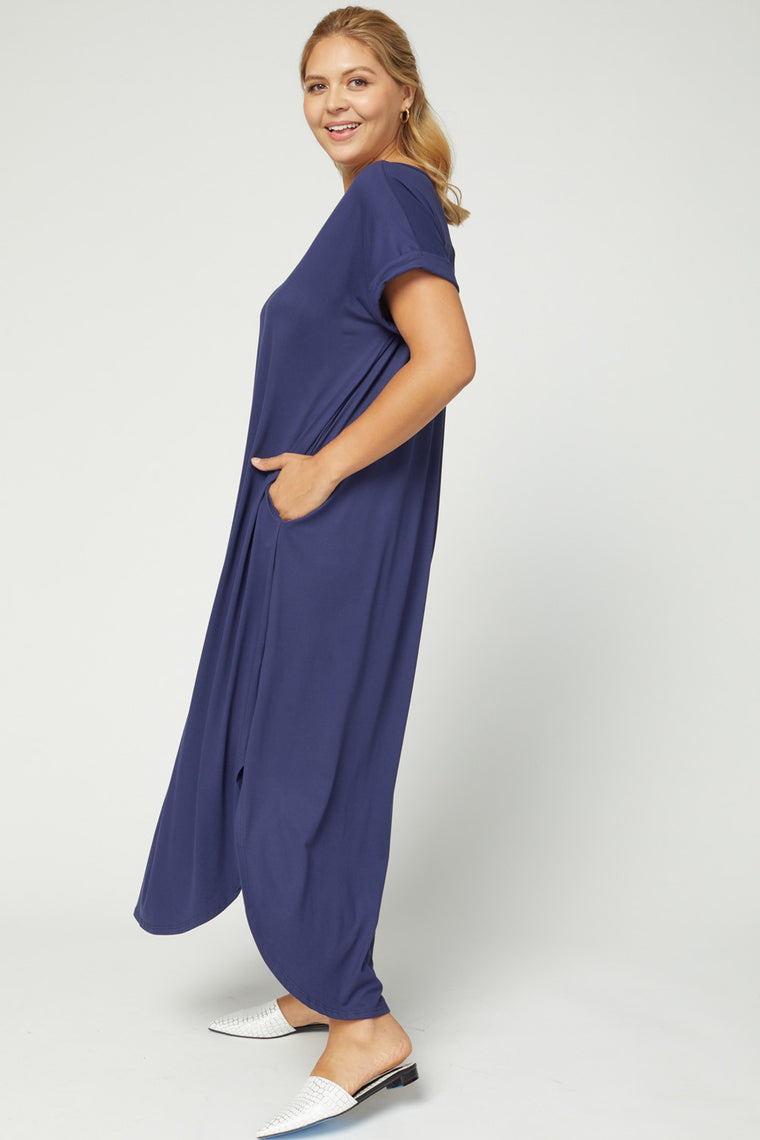 CURVY AUTUMN BREEZE NAVY MAXI DRESS