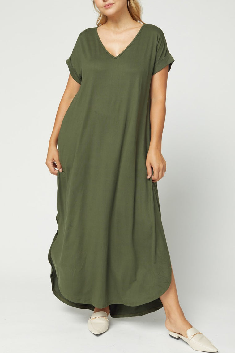 CURVY AUTUMN BREEZE OLIVE MAXI DRESS
