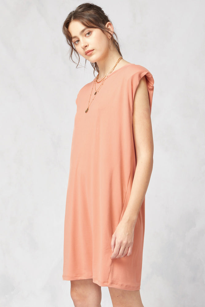 Load image into Gallery viewer, Lean On Me Shoulder Pad Dress | Sunset