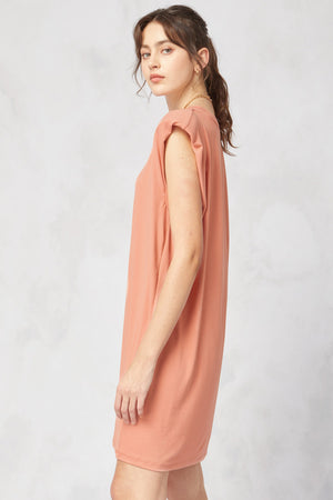 Lean On Me Shoulder Pad Dress | Sunset