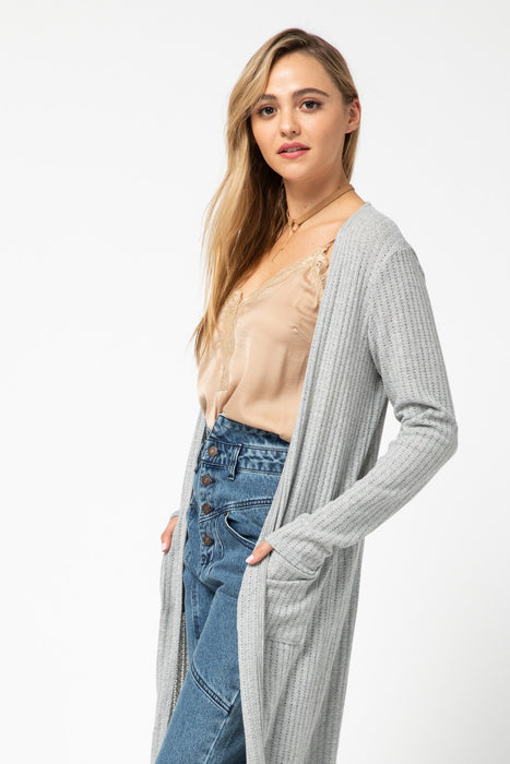 PERFECT TRANSITIONS GREY DUSTER CARDIGAN