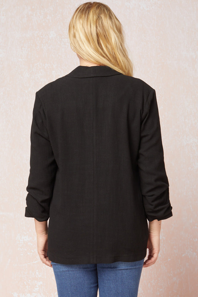 Curvy Put Together Linen Blazer | BLACK