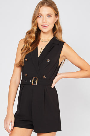 Fabric Buckle Romper | Black