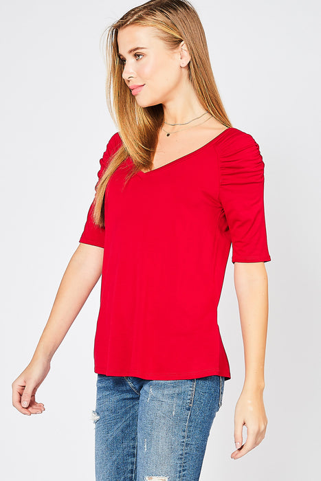 THE FOREVER RED PUFF SLEEVE TOP