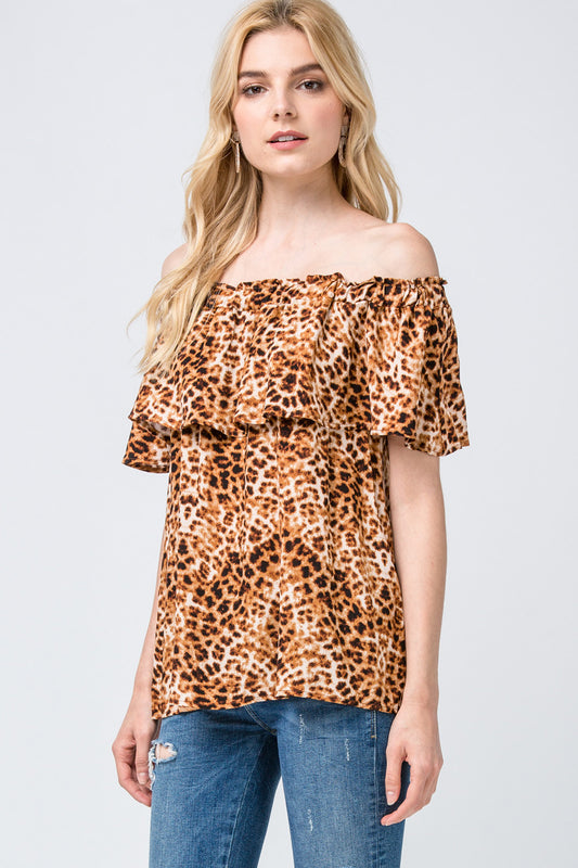 ROAMING WILD LEOPARD OFF THE SHOULDER TOP