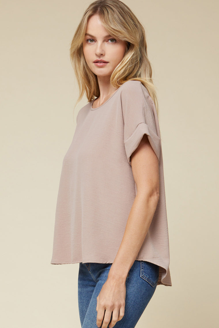 CREAM OF THE CROP TAUPE SCOOP TOP