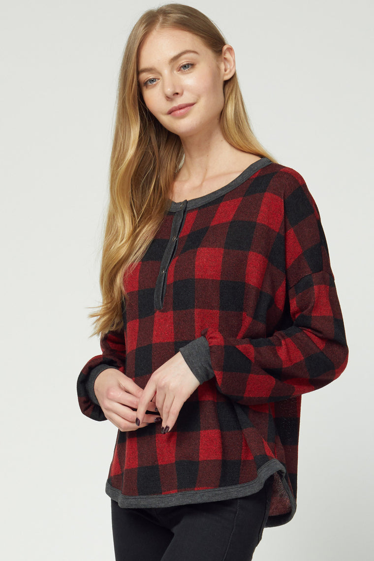 TRUE COLORS OF FALL BUFFALO PLAID TOP