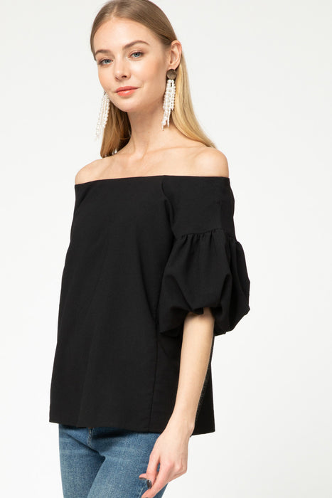 FALLING FOR FANCY BLACK BUBBLE SLEEVE TOP