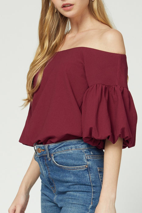 FALLING FOR FANCY WINE BUBBLE SLEEVE TOP
