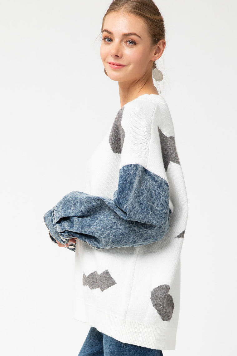 ROCK THE BLUE JEAN BABE MIXED PATTERN SWEATER