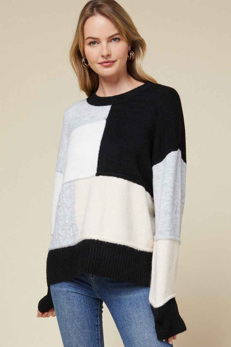 RACING THOUGHTS COLOR BLOCK SWEATER