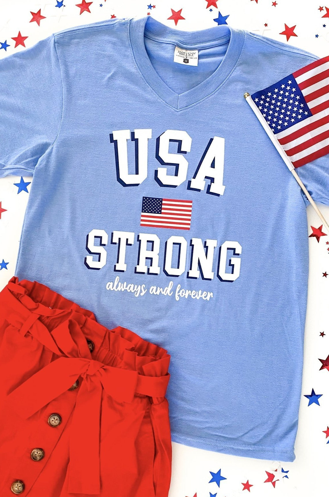 JADELYNN BROOKE TEE USA STRONG TEE