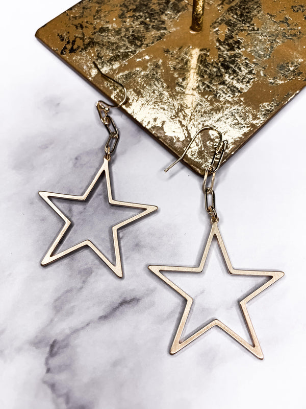 UNCHAIN MY HEART STAR DANGLE GOLD EARRING