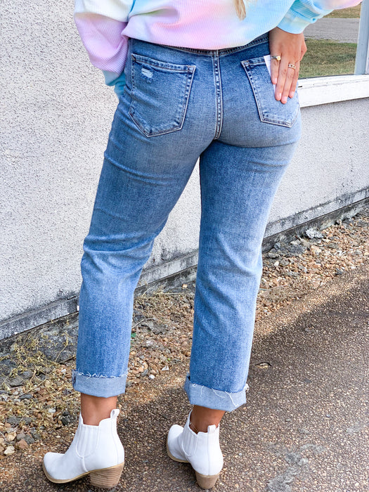 HIDDEN LEVEL UP WIDE BOTTOM GIRLFRIEND JEANS