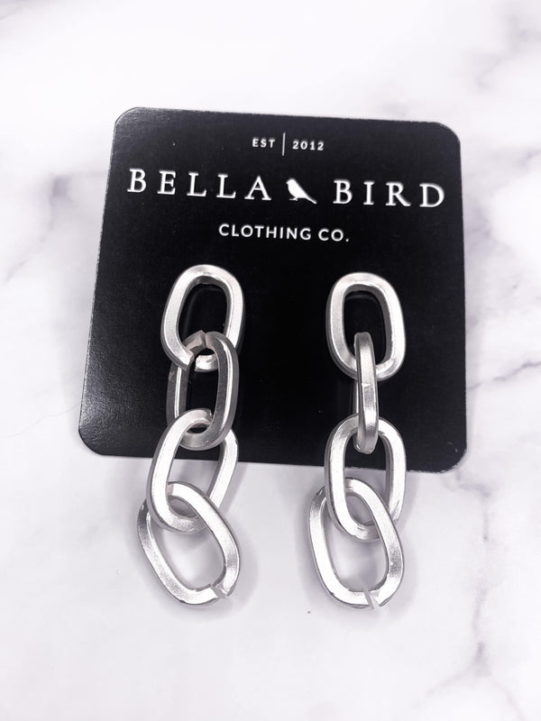 CHAIN GANG SILVER EARRINGS