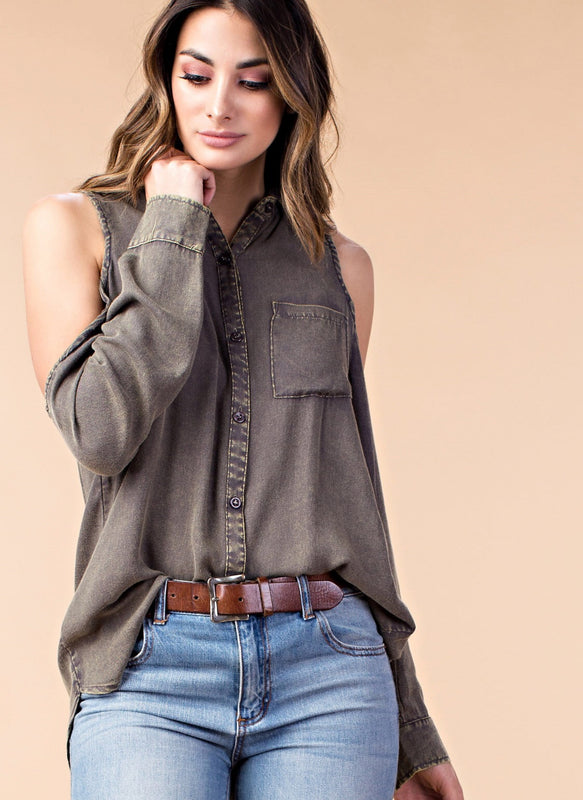 TASTE OF THE FALL COLD SHOULDER BUTTON UP
