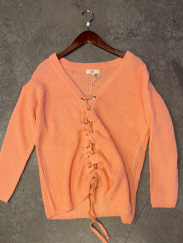 NO EASY CATCH APRICOT TIE UP SWEATER