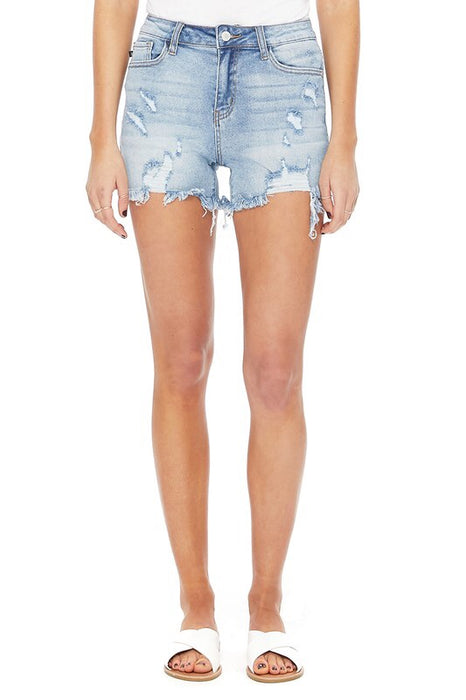 JUDY BLUE- YES GIRL DISTRESSED SHORTS