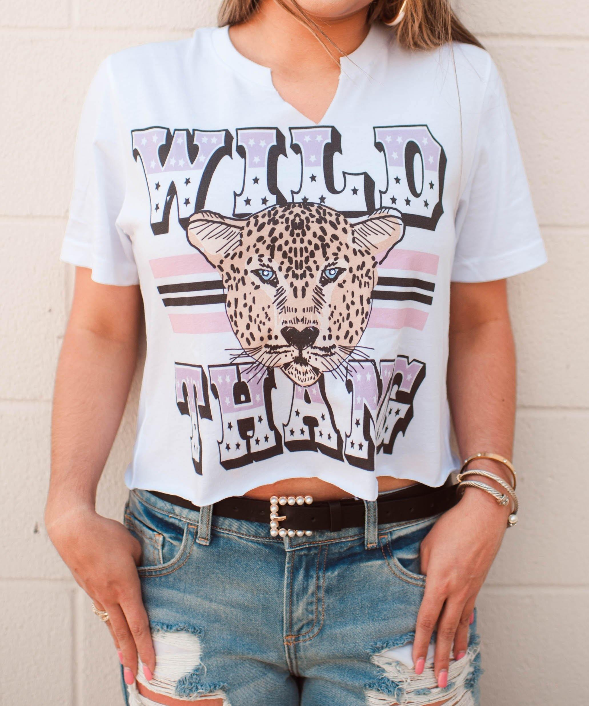 WILD THANG EMBELLISHED CROP TEE