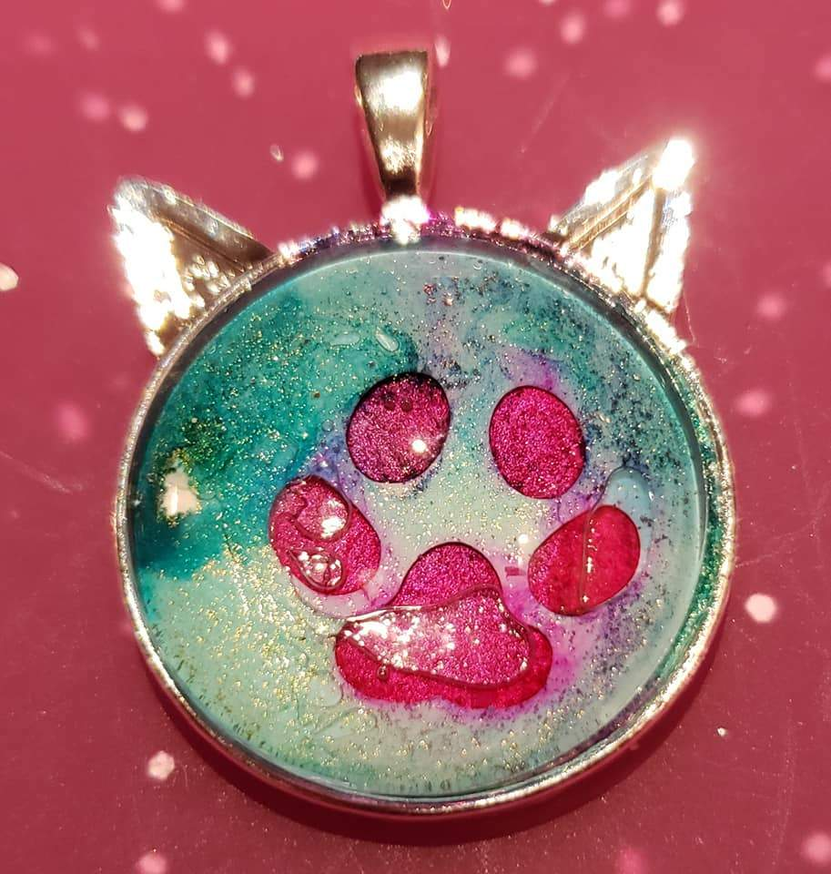 Cat Or Dog Paw Print Pendant Infused With Cremains-Forever Fused