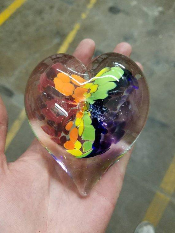 Rainbow of Colours Hand Held Memorial Heart Infused With Ashes Of People & Pets-Forever Fused