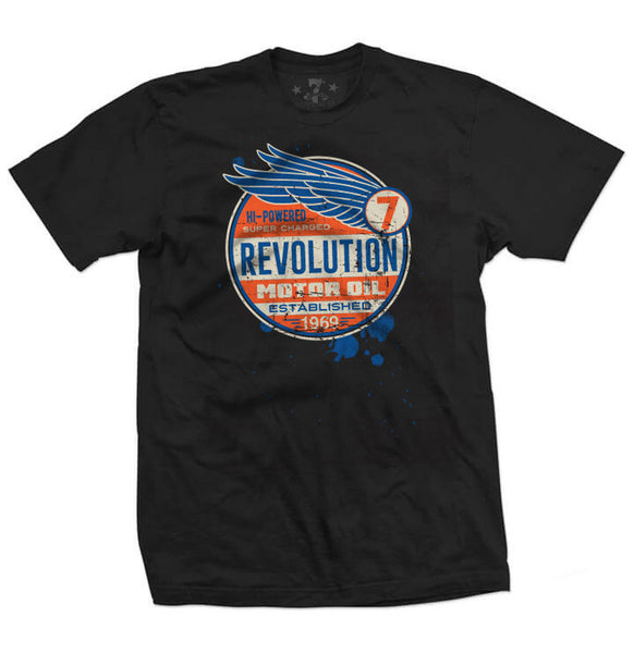 7th Revolution Rev Motor Oil men's tee