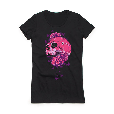Skull Bouquet crew neck tee-Women's tees-7threvolution.com