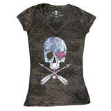 LoveHate Women's Burnout V Neck-Women's tees-7threvolution.com