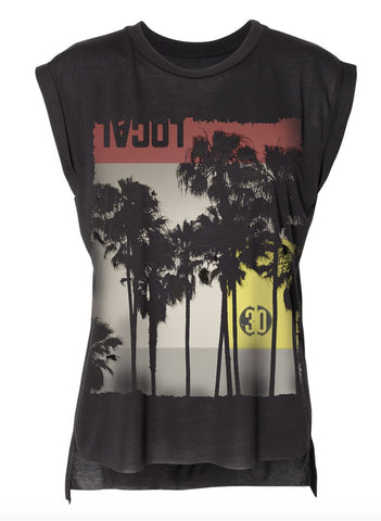 Local Palm Print Black Flowy Muscle Tee-WOMENS TOPS-7threvolution.com