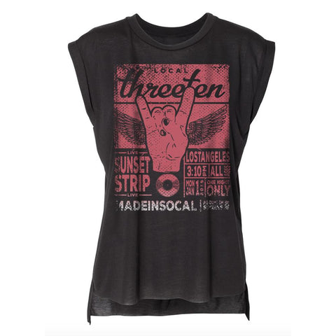 Sunset Strip Live Black Flowy Muscle Tee-WOMENS TOPS-7threvolution.com