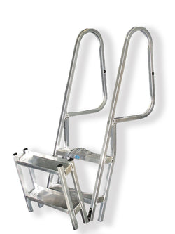 CPI Designs, LLC, 4 Step, Hinged, Ocean, Folding, Marine, Marina, Boat, Dock, Ladder, Aluminum, Easy Step, Corrosion Resistant,Fishing, Boating, Camping, Surf, Peir, Garden, Tail Gating, Cart, Made in the USA