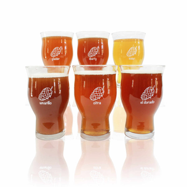 20 oz. 6-Pack of Ultimate Beer Glasses - a unique hop on each glass so you never misplace your glass at a party.